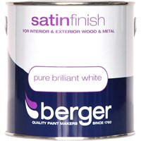 Berger  Satin Brilliant White Paint - 2.5 Litre