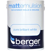 Berger  Matt Emulsion Brilliant White Paint - 5 Litre