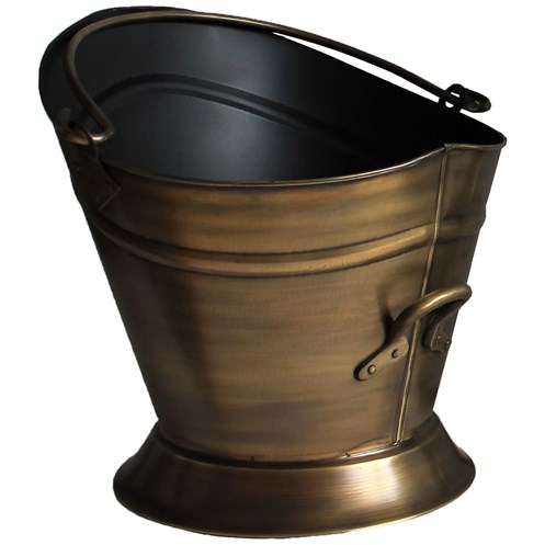 Sirocco The Collection Waterloo Coal Bucket Antique Brass Finish - 38cm