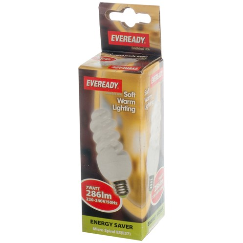 Eveready  CFL Spiral Soft Lite Light Bulb - 7W ES