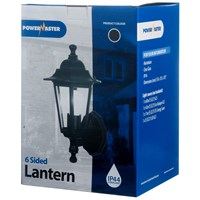 Powermaster  6 Sided Wall Lantern Black - 60W